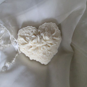 Bridal Shower SOAP DECORATIONS, wedding or Anniversary, Renewal of vows,  10 Detailed Rose Hearts, creamy natural Goat Milk Soap, unscented.
