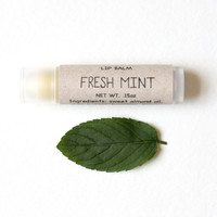 Mint Lip Balm - Made with all natural beeswax and organic shea butter in a tube
