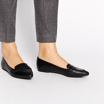 New Look Joan Black Croc Pointed Toe Flat Shoes at asos.com