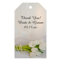 White Tulip Bouquet Wedding Favor Tags