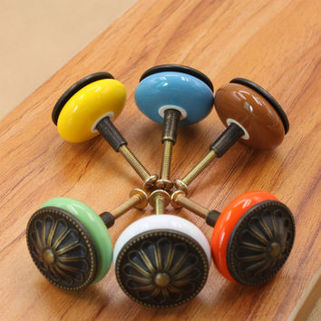 Retro Round Ceramic Alloy Door Knobs Drawer Cabinet Wardrobe Pull Handle Knobs Furniture Hardware Handle Multi-Color