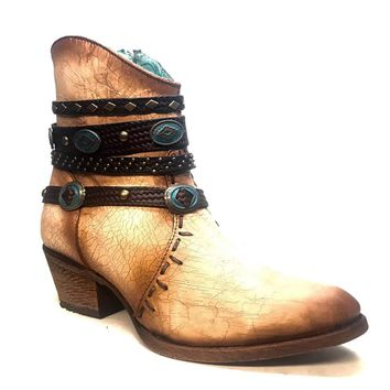 Corral Bone Zipper and Studded Harness Ankle Boot