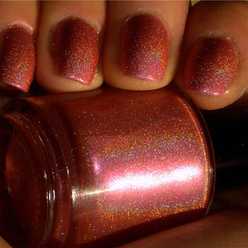 """Holographic Nail Polish - """"CACTUS FLOWER"""" - Pink Primrose Hand Blended Nail Lacquer- Spectraflair - 0.5 oz Full Sized Bottle"""