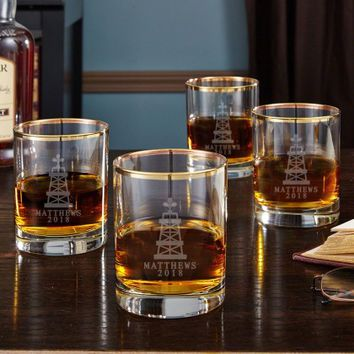 Oil Strike Gold Rim Personalized Whiskey Glasses, Set of 4