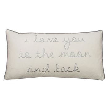 Thro By Marlo Lorenz ''I Love You To The Moon and Back'' Embroidered Throw Pillow
