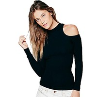 ladies top Cut Out Black Blouse Off The Shoulder Tops For Women Spring Shirt Blouse Cold Shoulder Long Sleeve Women Tops Stretch