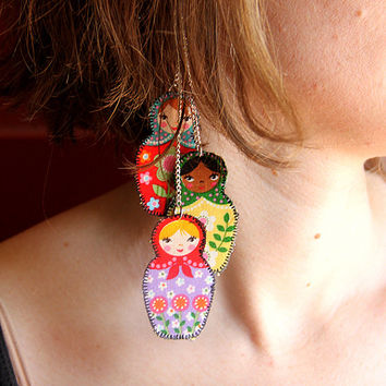 Russian doll earrings, retro jewelry, diverse ethnic accessories, nesting doll earrings, matryoshka earrings, ethnic nesting dolls