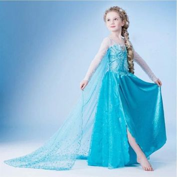 Cool New 3-9 Y Girls Dresses Cartoon Cosplay Snow Queen Princess Dress Elsa Dresses Anna Cloak+Dress 2pc Sets Baby Kids ClothingAT_93_12