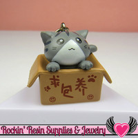 Gray Anime CAT in a BOX Cellphone Dust Plug Charm or Cabochon
