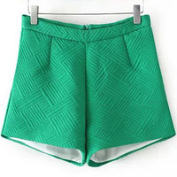 Green High-waist A-line Shorts