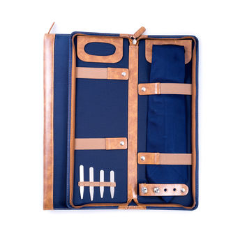 Ballistic Blue Nylon Travel Tie Case with Brown Accents