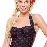 BEST SELLER! Vintage Swimsuit 50's Style Pin Up BLACK with Red Polka Dot Bathing Suit - 6 to 18 - Unique Vintage - Cocktail, Evening, Pinup Dresses