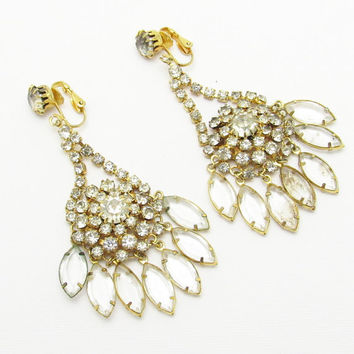 Long Rhinestone Earrings Statement Vintage Jewelry E7163