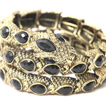 Coiled Serpent Cuff Gold Tone Black Crystal Snake Bracelet BC13 Statement Bangle Vintage