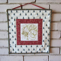 """Quilted Wallhanging """"Christmas Bells"""" Winter Decor, Holiday Decoration, Small Xmas Wallhanging, Golden Bells and Christmas Trees"""