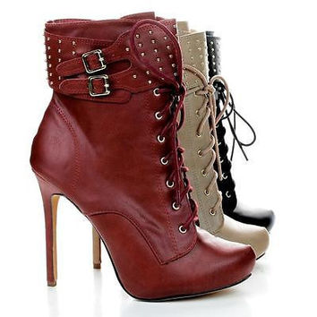 Tavi19 by Liliana, Studded Cuff Stiletto Ankle Lace Up Booties
