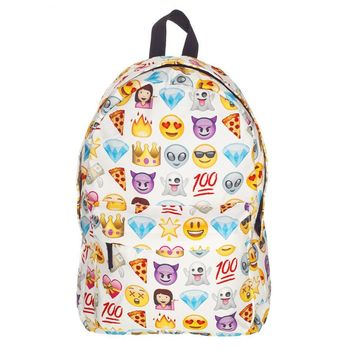 New Arrival Fashion 3D Printing QQ Emoji Backpack for Gril Boys Schoolbag Travel Bag Zipper Cartoon Smiley School Bag BB87