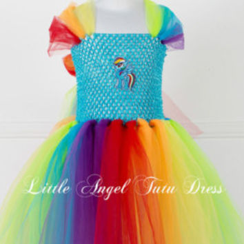 Rainbow Dash My Little Pony Tutu Dress - Handmade Fancy Dress Costume - Christmas Gift - Age 2 3 4 5 6 7 8 9 10 11