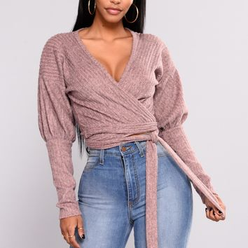 In Your Embrace Wrap Sweater - Mauve