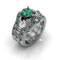 Claddagh Wedding Ring - Sterling Silver Emerald CZ  Love and  Friendship Engagement Ring Trio Set
