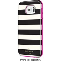 kate spade new york - Hybrid Hard Shell Case for Samsung Galaxy S6 Cell Phones - Candy Stripe Black/Cream/Pink