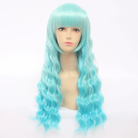 Cosplay Lolita Blue Green Curly Wig SP141204