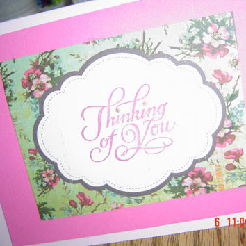 pink card flowers 6 1/2x4 1/4 inches women men children OOAK Handmade card