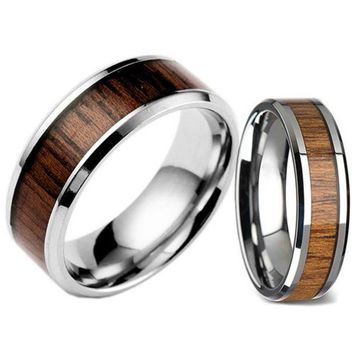 DCCKFV3 Men's Women's Fashion Creative Wide Band Wood Titanium Steel Ring Size 6-12