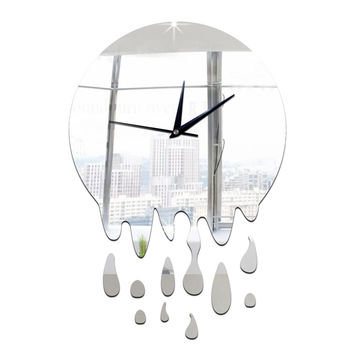 Acrylic Wall Clock Mirror Decoration   silver without scale