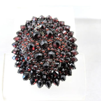 Antique Bohemian Garnet Pendant Brooch, Victorian Rose Cut Garnet Jewelry, Large Oval Layered Design, January Birthstone