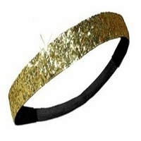 Gold Glitter Sparkly Sports Headbands - Glitter Headband Store