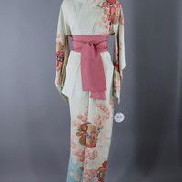Vintage 1950s Silk Kimono Robe / Ivory and Sky Blue with Pink Floral Print