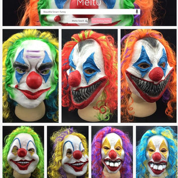 Scary Clown Mask Joker Men's Full Face Party Day Horror Funny Women Mask For kids Halloween Party Masquerade Costume Supplies