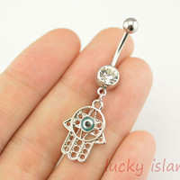 belly ring,Hamsa Hand belly button jewelry,evil eye belly button rings,navel ring,piercing belly ring,body piercing bellyring