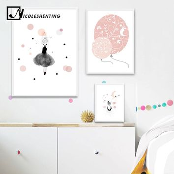 Lovely Girl Balloon Wall Art Canvas Poster Cartoon Nursery Prints Painting Nordic Kids Decoration Picture Baby Bedroom Decor
