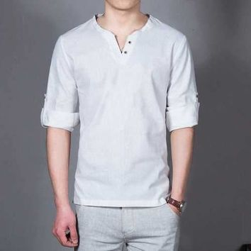 Mens Casual Linen Stand Collar Long Sleeve T-shirt Fashion Solid Color Tops