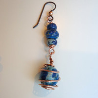 Blue Aqua Terra Copper Wire Wrap Earrings