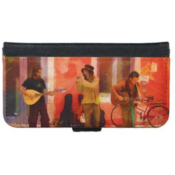 Street Musicians Playing Guitar Mandolin and Flute Wallet Phone Case For iPhone 6/6s