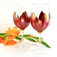2 Red Russet and Gold Wine Glasses,Custom Wine Glasses, Red Russett and Gold, Wedding Gift ,Handmade Wine Glasses, Unique Wine Glasses