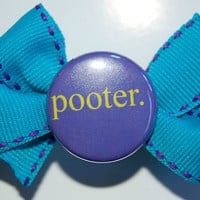 Pooter Turquoise Bow on a French Clip by ellecuddy on Etsy