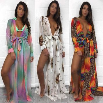 Vestido Sexy Club Panther print Chiffon Dress 2018 Spring Sexy Women Multi Patchwork Dress V Neck Straight Bodycon Casual Dress