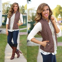 Fall in Love Puffer Vest in Brown