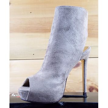 "Luichiny Kay Cee Taupe Vegan Suede Open Toe Ankle Boot 5"" High Heel Shoes"