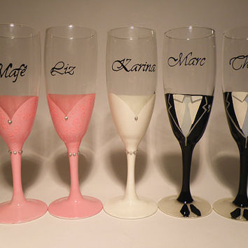 Wedding bridal party glasses Hand Painted Champagne flutes