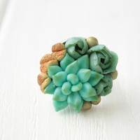 Green Blue Succulent Planter Round Ring succulent plants arrangement Succulent Jewelry mother day mom gifts for mums