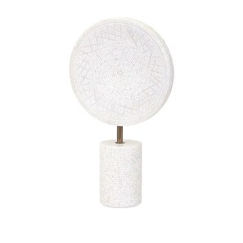 Large White Marble Medallion on Stand | Free Shipping