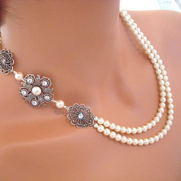 Vintage style bridal necklace, pearl necklace, antique silver necklace, wedding jewelry, statement necklace