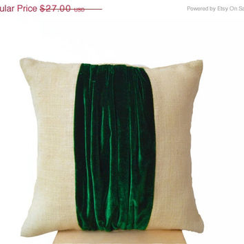 SALE Pillow cover -Color Block Pillow -Burlap Color Block Pillow -Green Velvet Color Block Cushion -Throw Pillow -Decorative Pillow -16x16 -