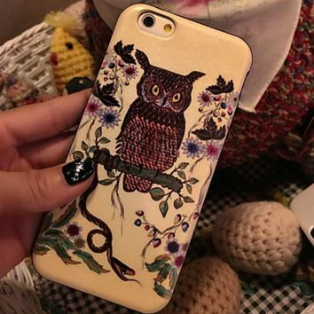 Vintage Retro Owl Case Cover for iphone 6 6s Plus Gift 210-170928