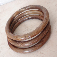 Brown Marbled Bangles Plastic Floral Imprint Set of Three Vintage 031815JS